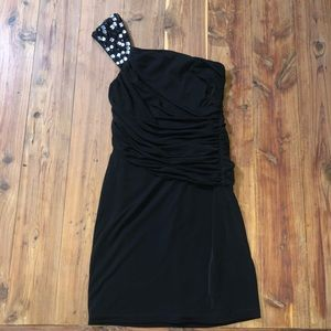 NWT Maggy London One Shoulder Black Cocktail Dress